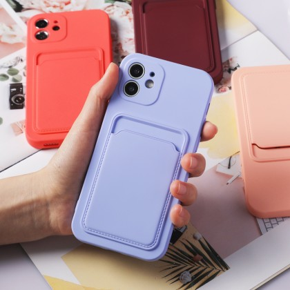 Shockproof Card Holder Wallet Case iPhone 11 12 Pro Max iPhone 7 8 Plus X XR XS MAX SE Liquid Silicone Case Card Holder